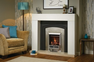 Chartwell front in polsihed chrome effect with Arts2 frame and Logic convector fire